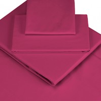 Magenta Polycotton Percale Double Fitted Sheet