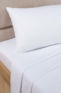 White Polycotton Percale Super King Flat Sheet