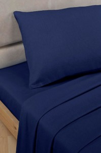 Navy Polycotton Percale Single Flat Sheet