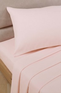 Pink Polycotton Percale Double Fitted Sheet
