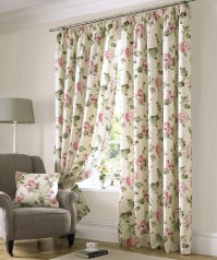 Apsley Coral Pencil Pleat Curtains 117x137cm