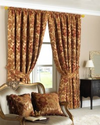 "Belgravia Gold Pencil Pleat Curtains 90x90"" / 230x230cm"
