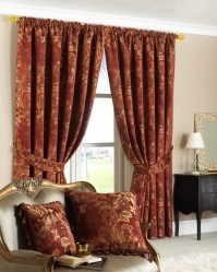"Belgravia Rust Pencil Pleat Curtains 90x90"" / 230x230cm"