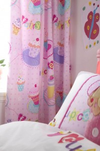 "Cupcakes Lined Curtains 66x72""/168x183cm"