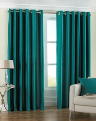 "Fiji Teal Pencil Pleat Curtains 46x54"" / 117x137cm"