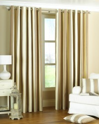 "Gatsby Stripe Eyelet Curtains - Natural 90x90"" / 230x230cm"