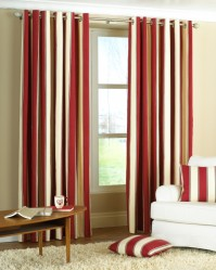 "Gatsby Wine Stripe Eyelet Curtains 46x72"" / 117x183cm"