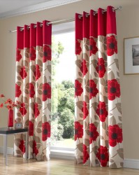 "Harper Red Eyelet Curtains 46x54"" / 117x137cm"