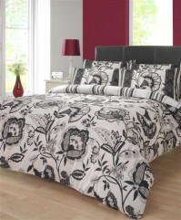 Lydia Monochrome Floral Single Duvet Cover Set