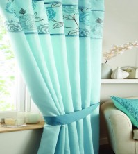 "Peony Duck Egg Pencil Pleat Curtains 66x72""/168x183cm"