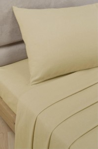Biscuit Polycotton Percale Double Fitted Sheet