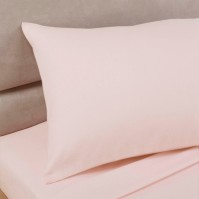 Pink Polycotton Percale Housewife Pillowcase (pair)