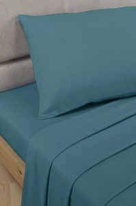 Teal Polycotton Percale Super King Flat Sheet