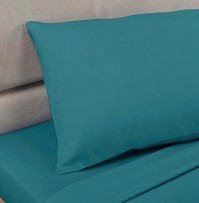 Teal Polycotton Percale Housewife Pillowcase (pair)