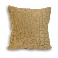 Alligator Faux Fur Cushion Cover Taupe 45cm