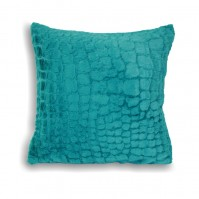 Alligator Faux Fur Cushion Cover Teal 45cm