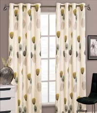 "Allium Green Eyelet Curtains 66x72""/168x183cm"