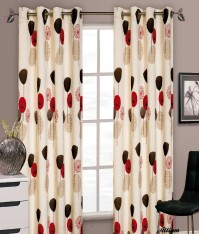 "Allium Red Eyelet Curtains 66x72""/168x183cm"