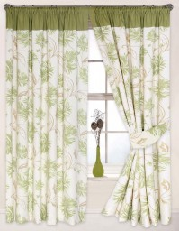 "Arabella Green Pencil Pleat Curtains 90x90""/229x229cm"