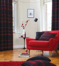 "Arlington Red Eyelet Curtains 66x72""/168x183cm"