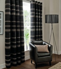 "Arlington Black Eyelet Curtains 66x72""/168x183cm"