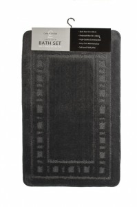 Armoni Black Bath Mat and Pedestal Set