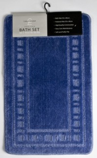 Armoni Blue Bath Mat and Pedestal Set