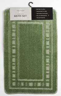 Armoni Sage Green Bath Mat and Pedestal Set