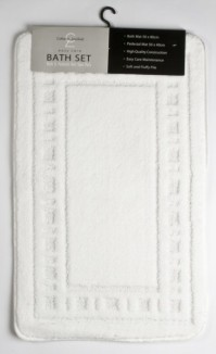 Armoni White Bath Mat and Pedestal Set