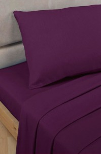 Aubergine Polycotton Percale Super King Flat Sheet
