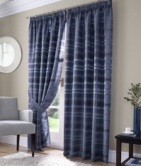 "Bamboo Check Blue Pencil Pleat Curtains 90x90""/229x229cm"