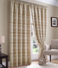 "Bamboo Check Mocha Pencil Pleat Curtains 46x54""/117x137cm"