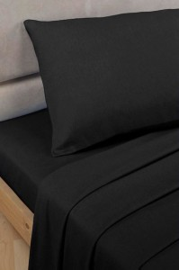 Black Polycotton Percale Double Fitted Sheet