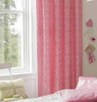 Vintage Britannia Pink Tab Top Curtains