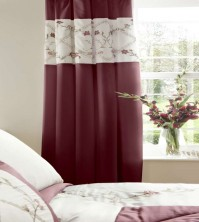 "Caitlyn Red Pencil Pleat Curtains 66x72""/168x183cm"