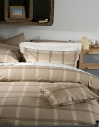 Belledorm Check Natural Duvet Cover Set Super King