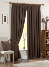 "Chenille Spot Chocolate Brown Pencil Pleat Curtains 66x90""/168x229"