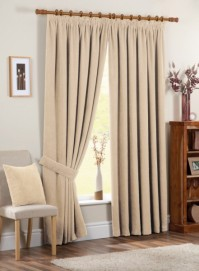 "Chenille Spot Cream Pencil Pleat Curtains 90x90"" / 229x229cm"