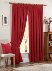 "Chenille Spot Red Pencil Pleat Curtains 90x90"" / 229x229cm"