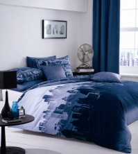 Cityscape Blue Duvet Cover Set, Single