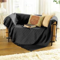 "Como Herringbone Throw Black 70x100""/178x254cm"