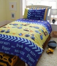 Diggers Boys Duvet Cover Set, Single