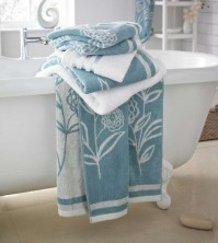 Ellie Jacquard Duck Egg Bath Towel