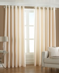 "Fiji Cream Eyelet Curtains 90x90"" / 230x230cm"