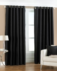"Fiji Black Pencil Pleat Curtains 66x54"" / 168x137cm"
