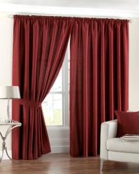 "Fiji Red Pencil Pleat Curtains 90x90"" / 230x230cm"