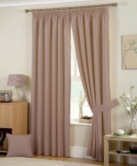 "Hudson Coffee Pencil Pleat Curtains 90x90"" / 229x229cm"