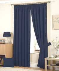 "Hudson Navy Pencil Pleat Curtains 90x108"" / 229x274cm"