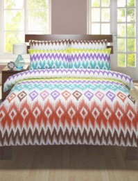 Ikat Multi Coloured King Size Duvet Cover Set