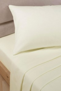 Ivory Polycotton Double Fitted Valance Sheet